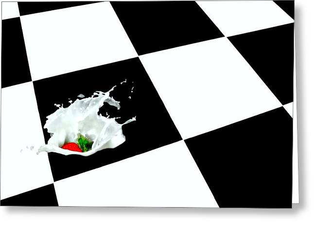 Checkerboard Floor Greeting Cards - The Cat Did It Greeting Card by Diana Angstadt