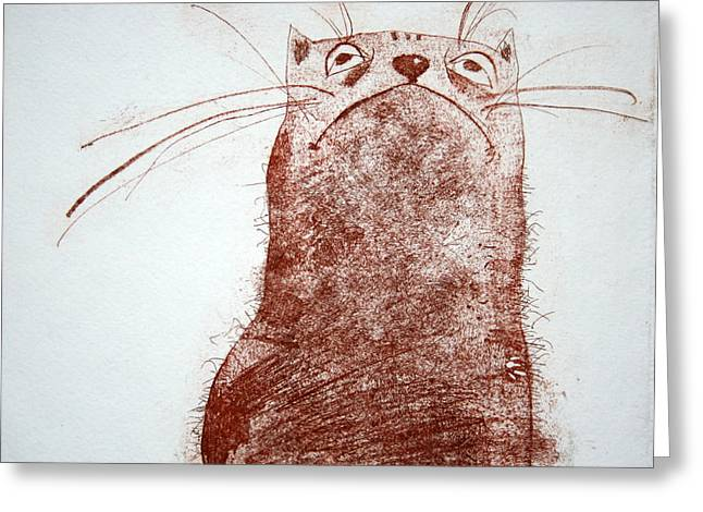 Hand Pulled Print Greeting Cards - The Cat Greeting Card by Grazvyda Andrijauskaite