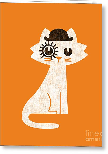 Clockwork Greeting Cards - The cat in clockwork orange costume Greeting Card by Budi Kwan