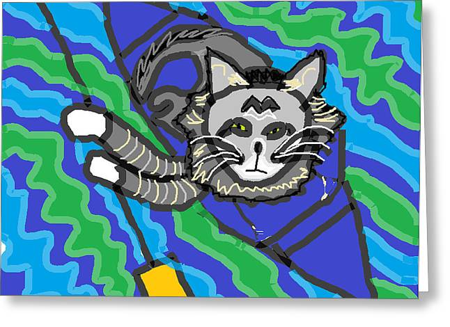 Advocacy Greeting Cards - The Cat Rescuer Greeting Card by Anita Dale Livaditis