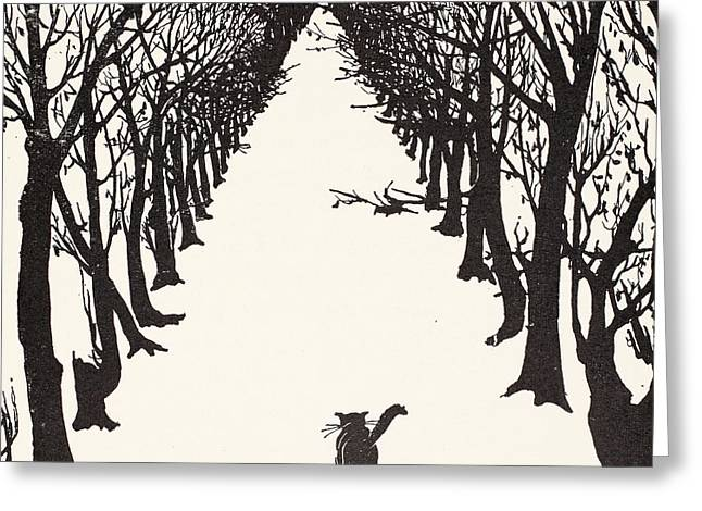 White Drawings Greeting Cards - The Cat that Walked by Himself Greeting Card by Rudyard Kipling