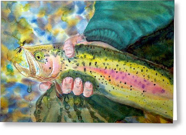 Rainbow Trout Greeting Cards - The Catch Greeting Card by Anderson R Moore