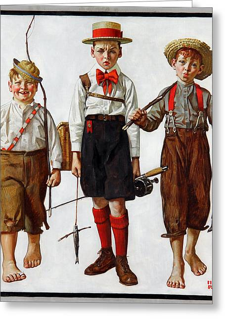 Norman Drawings Greeting Cards - The Catch by Norman Rockwell Greeting Card by Nomad Art And  Design