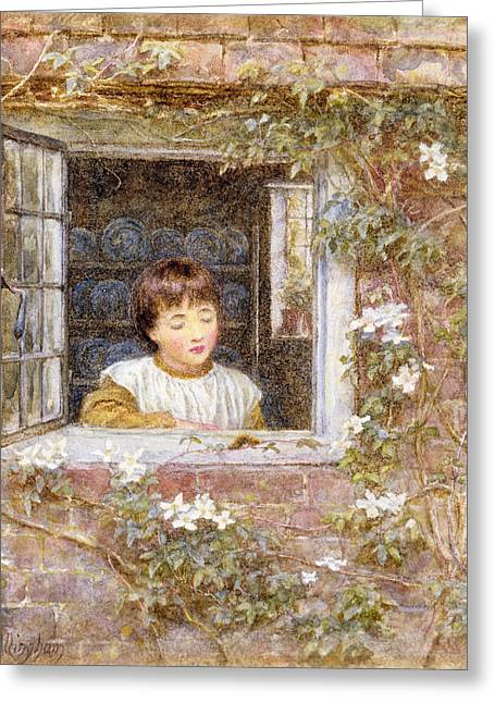 Caterpillar Greeting Cards - The Caterpillar Wc On Paper Greeting Card by Helen Allingham