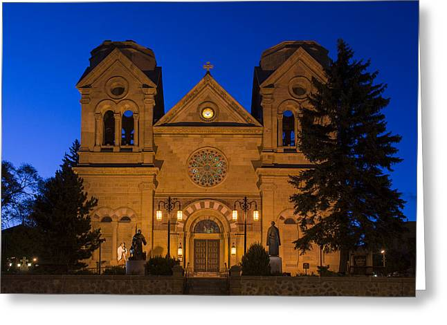 Revival Greeting Cards - The Cathedral Basilica Of Saint Francis Of Assisi - Santa Fe New Mexico Greeting Card by Brian Harig