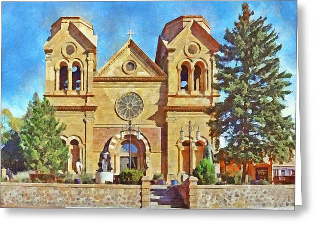 Saint Hope Greeting Cards - The Cathedral Basilica of St Francis of Assisi in Sante Fe  Greeting Card by Digital Photographic Arts