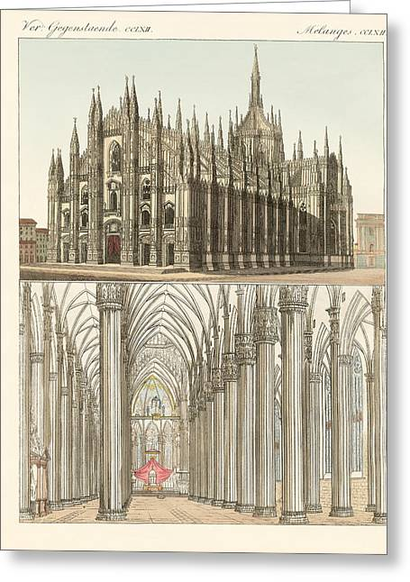 Architektur Drawings Greeting Cards - The Cathedral of Milan Greeting Card by Splendid Art Prints