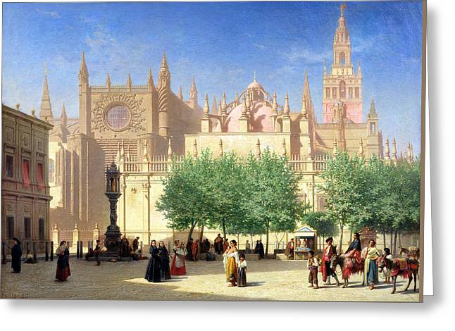 The Cathedral Of Seville Greeting Card by Achille Zo