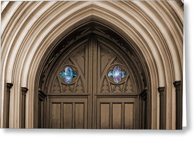 Stainglass Greeting Cards - The Cathedral of St. John The Baptist Greeting Card by Steven  Michael