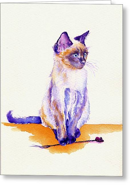 The Catmint Mouse Hunter Greeting Card by Debra Hall