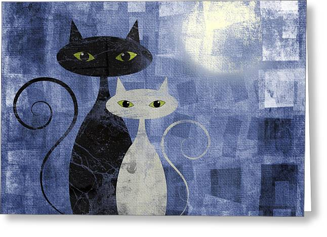 Two Pyrography Greeting Cards - The Cats Greeting Card by Jelena Jovanovic
