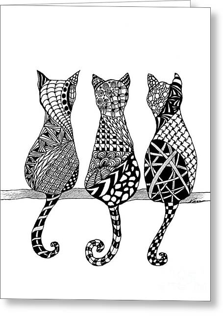 Pen And Ink Drawing Greeting Cards - The Cats Meow  Greeting Card by Nan Wright