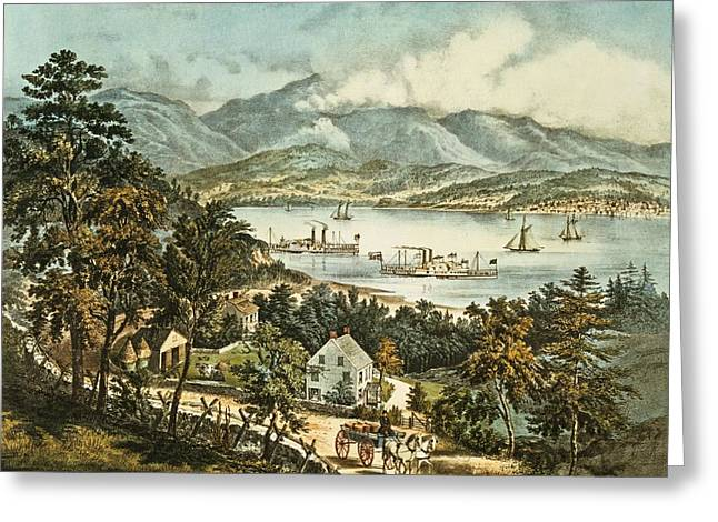 Horse And Cart Greeting Cards - The Catskill Mountains From The Eastern Shore Of The Hudson Colour Litho Greeting Card by N. Currier