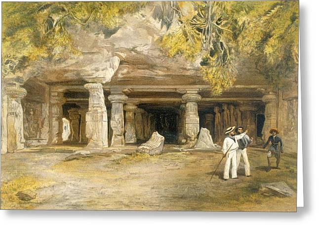 Rocks Drawings Greeting Cards - The Cave Of Elephanta, From India Greeting Card by William