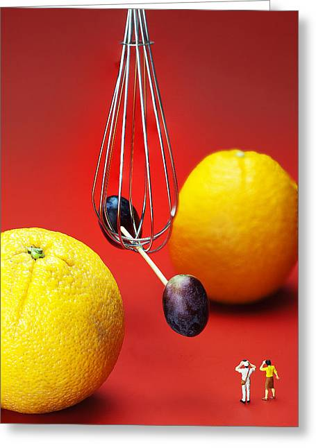 Creative People Greeting Cards - The Cavendish experiment depicted by fruits food physics Greeting Card by Paul Ge