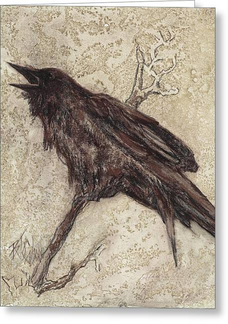 Raven Pastels Greeting Cards - The Caw   ling Greeting Card by Billie Colson