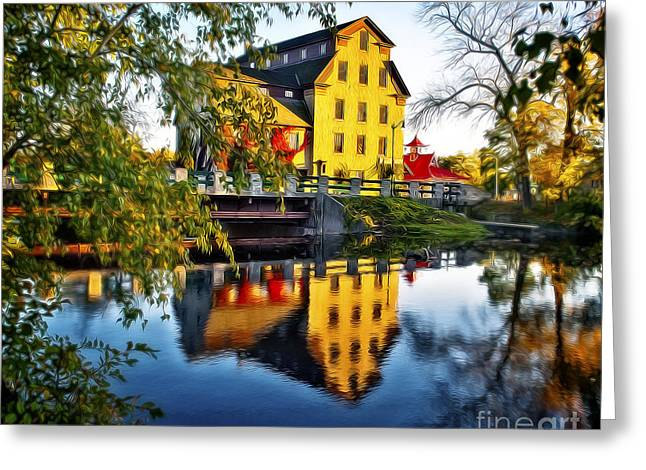 Cedar Creek Greeting Cards - The Cedarburg Mill - Digital Oil Greeting Card by Mary Machare