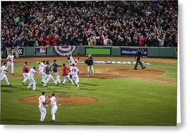 Boston Red Sox Greeting Cards - The Celebration Greeting Card by Paul Treseler