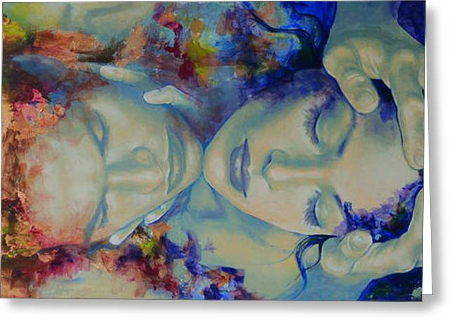 Celestial Paintings Greeting Cards - The Celestial Consonance Greeting Card by Dorina  Costras