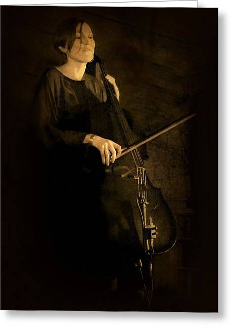 Candid Portraits Greeting Cards - The Cellist Greeting Card by Diana Angstadt