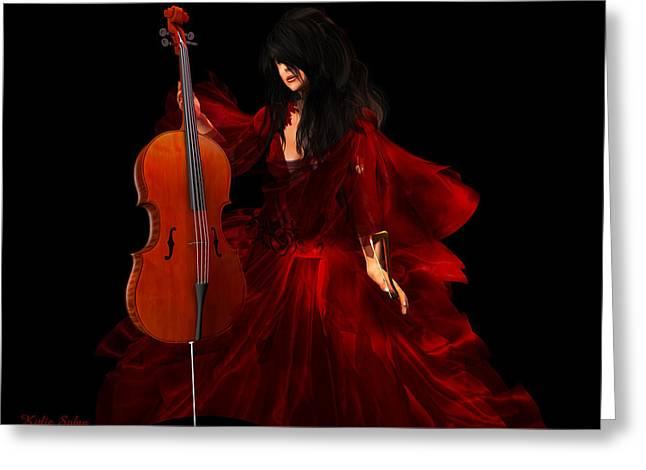 Kylie Sabra Greeting Cards - The Cellist Greeting Card by Kylie Sabra