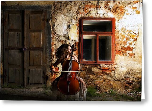 Cabin Window Greeting Cards - The Cellist Greeting Card by Movie Poster Prints