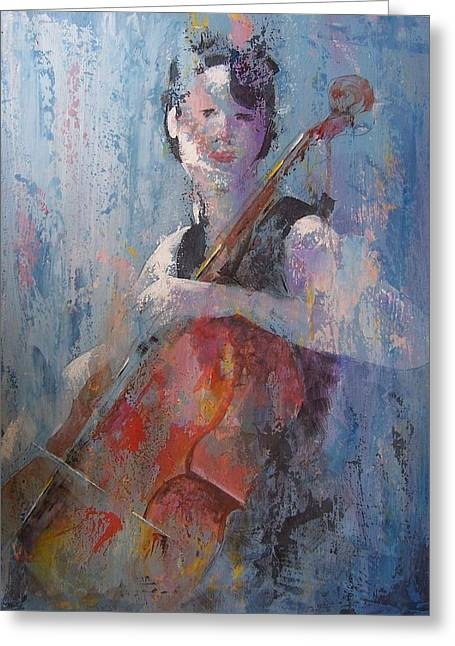 The Cello Greeting Card by John Henne
