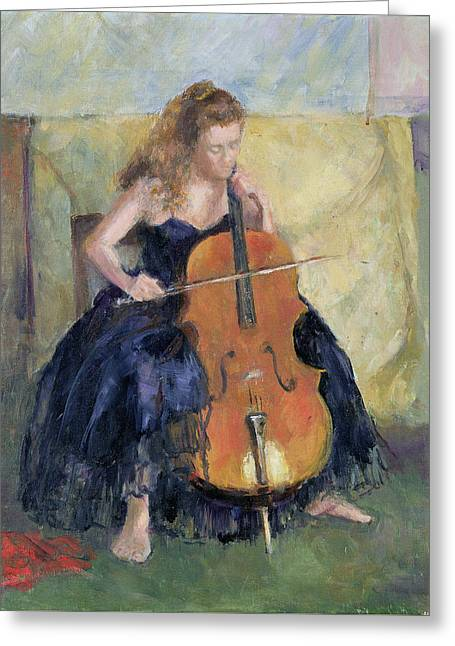 Strapless Dress Greeting Cards - The Cello Player, 1995 Greeting Card by Karen Armitage
