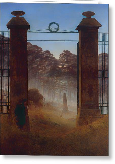 Headstones Greeting Cards - The Cemetery Greeting Card by Caspar David Friedrich