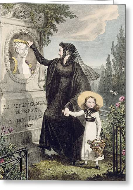 Morning Drawings Greeting Cards - The Cemetery Of Pere Lachaise, Printed Greeting Card by John James Chalon