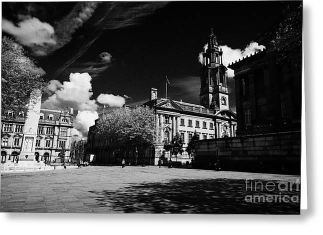 Centre Court Greeting Cards - The cenotaph sessions house courthouse and Harris Museum and Art Gallery in market square Preston England UK Greeting Card by Joe Fox