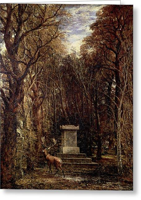 Stag Greeting Cards - The Cenotaph To Reynolds Memory, Coleorton, C.1833 Oil On Canvas Greeting Card by John Constable