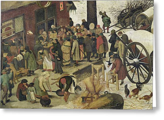 Wintry Greeting Cards - The Census at Bethlehem Greeting Card by Bruegel