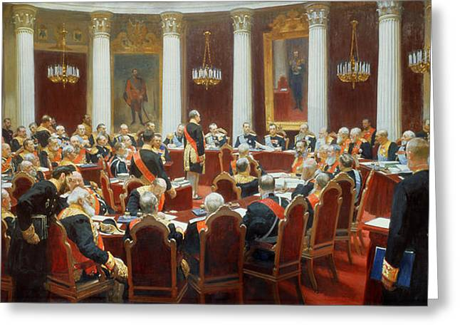 The Ceremonial Sitting Of The State Council 7th May 1901 Greeting Card by Ilya Efimovich Repin