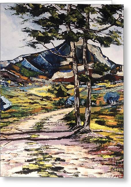 Victoire Paintings Greeting Cards - The Cezanne Mountain Colors From Sainte Victoire Greeting Card by Jiel