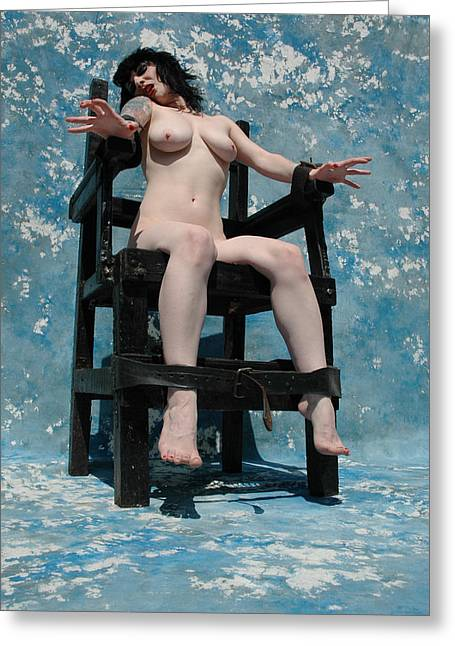Deviant Greeting Cards - The Chair - Victim C - 27 Greeting Card by Liezel Rubin