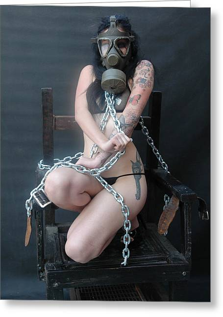 Deviant Greeting Cards - The Chair - Victim J - 260 Greeting Card by Liezel Rubin