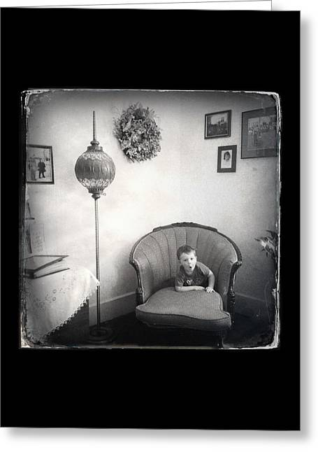 Little Boy Greeting Cards - The Chair Eats the Child Greeting Card by Natasha Marco