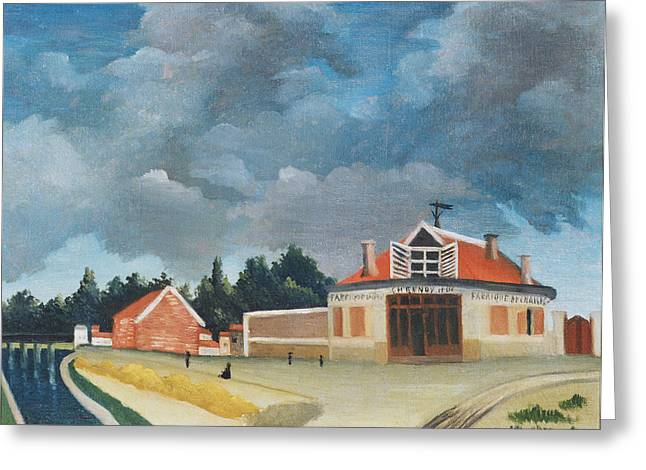 Suburb Greeting Cards - The Chair Factory At Alfortville, C.1897 Oil On Canvas Also See 309518 Greeting Card by Henri J.F. Rousseau