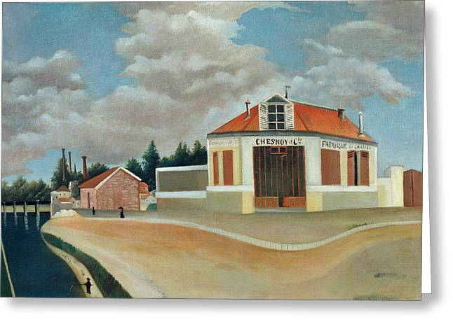 Parisian Greeting Cards - The Chair Factory at Alfortville Greeting Card by Henri Rousseau