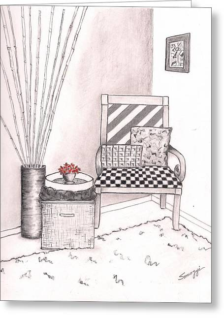 """indoor"" Still Life Mixed Media Greeting Cards - The Chair Greeting Card by Jayne Somogy"