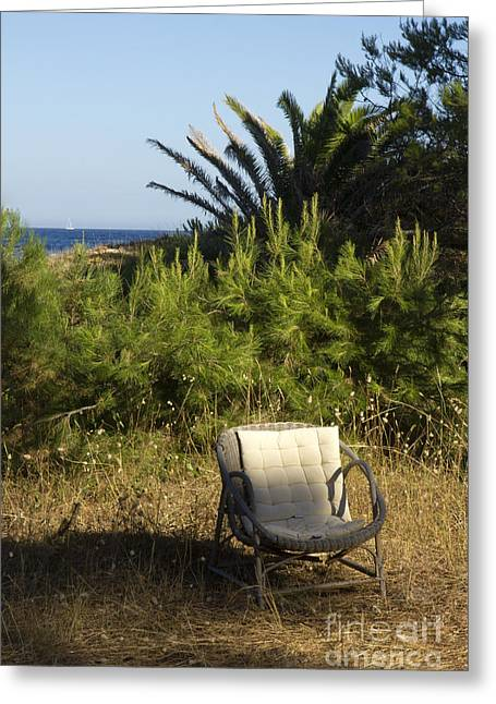 South Of France Greeting Cards - The Chair Greeting Card by Sophie De Roumanie