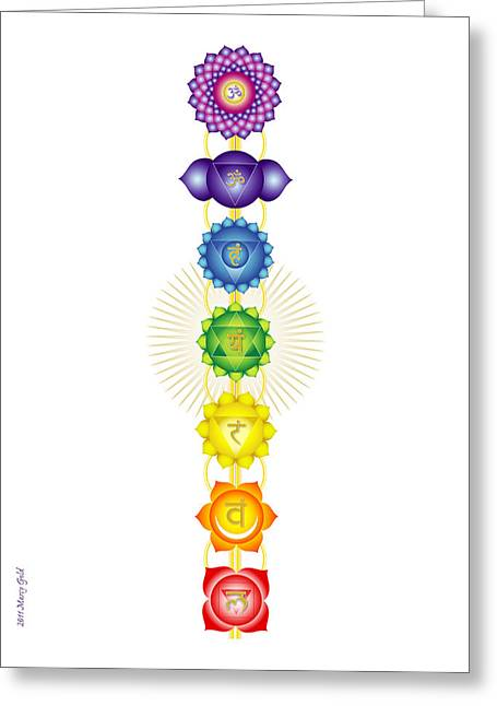 The Chakras Greeting Card by Marcy Gold