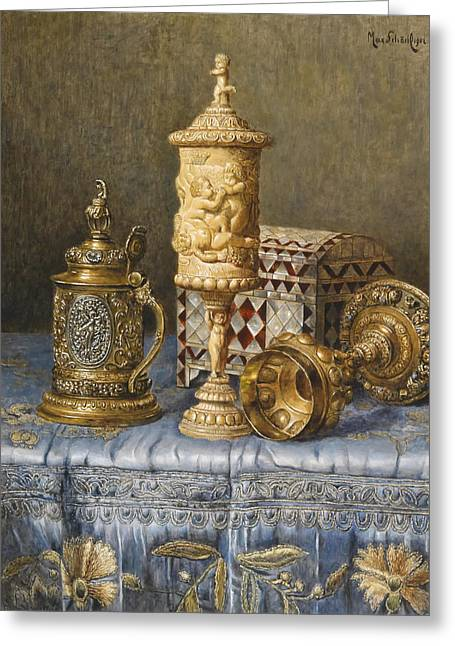 Table Cloth Greeting Cards - The Chalice Greeting Card by Schodl