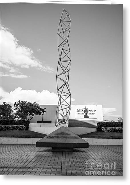 The Challenger Greeting Cards - The Challenger Memorial - Bayfront Park - Miami - Black and White Greeting Card by Ian Monk