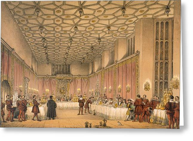 Royalty Greeting Cards - The Chamber, Hampton Court Greeting Card by Joseph Nash