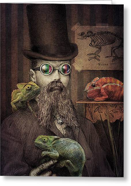 Moustache Greeting Cards - The Chameleon Collector Greeting Card by Eric Fan
