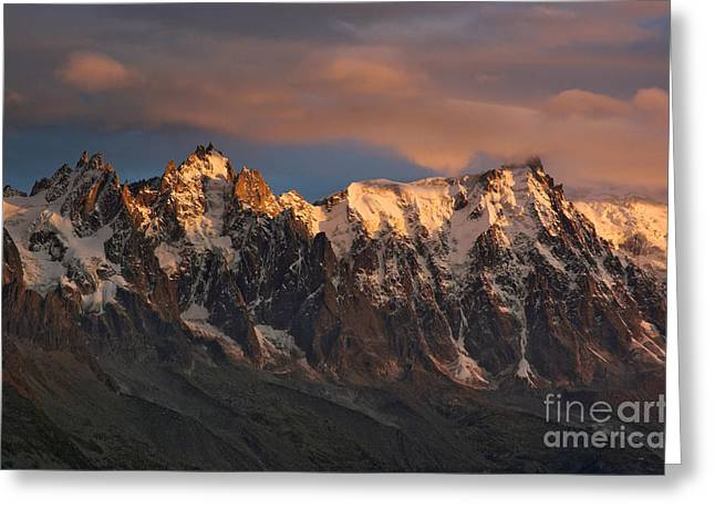 Midi Greeting Cards - The Chamonix Aiguilles at Sunset Greeting Card by Colin Woods