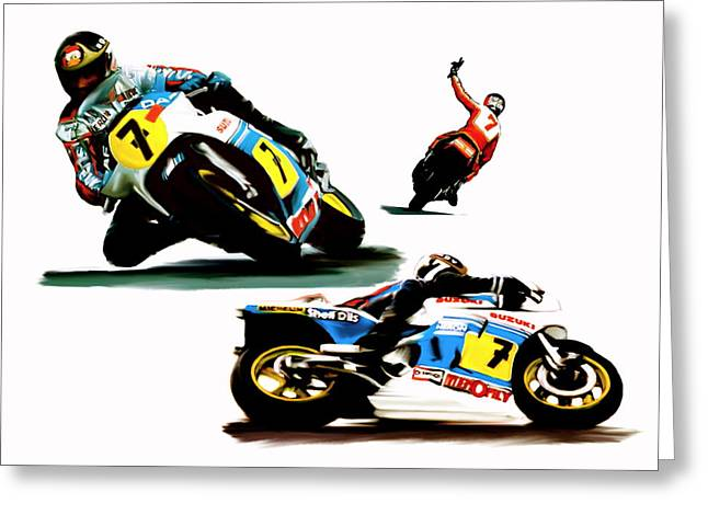 Barry Greeting Cards - The Champions Farewell  Barry Sheene Greeting Card by Iconic Images Art Gallery David Pucciarelli