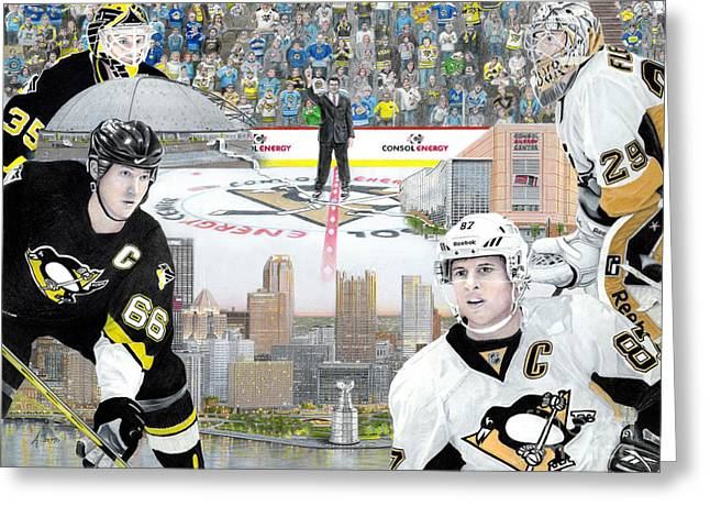 Pittsburgh Drawings Greeting Cards - The Changing of the Guard Greeting Card by Albert Puskaric